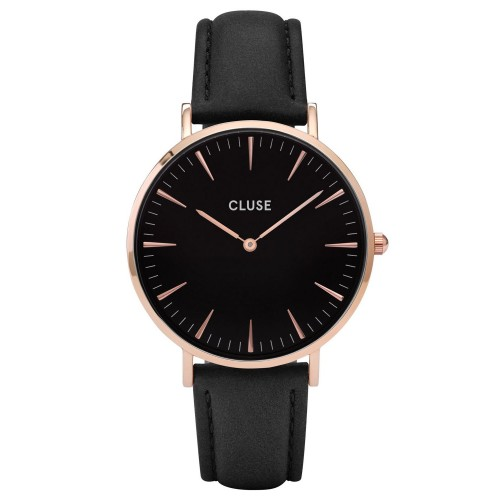 Cluse Ladies La Boheme Black Leather Watch CL18001