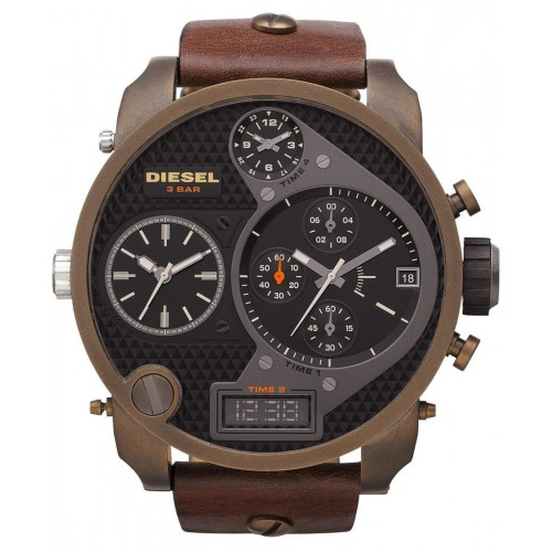 Diesel Big Daddy Brown Leather Mens Watch DZ7246