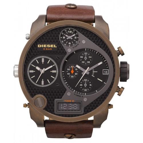 Diesel Big Daddy Brown Leather Mens Watch DZ7246