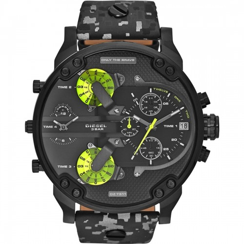 Diesel Mr Daddy Black Leather Chronograph Mens Watch DZ7311