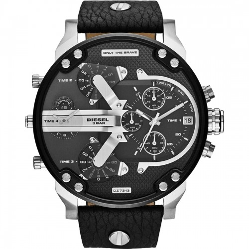 Diesel Mr Daddy Black Leather Chronograph Mens Watch DZ7313