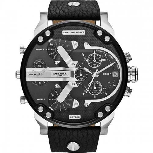 Diesel Mr Daddy Black Leather Chronograph Mens Watch DZ7313