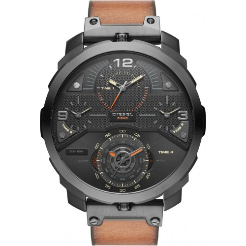 Diesel Machinus 4 Timezone Dial Brown Leather Strap Men's Watch DZ7359