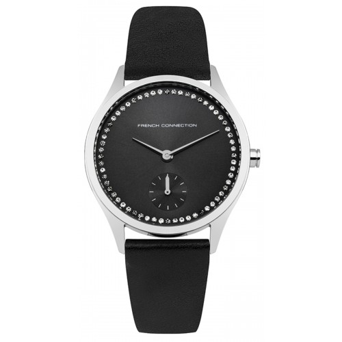 French Connection Louisa Ladies Black Leather Watch FC1272BB