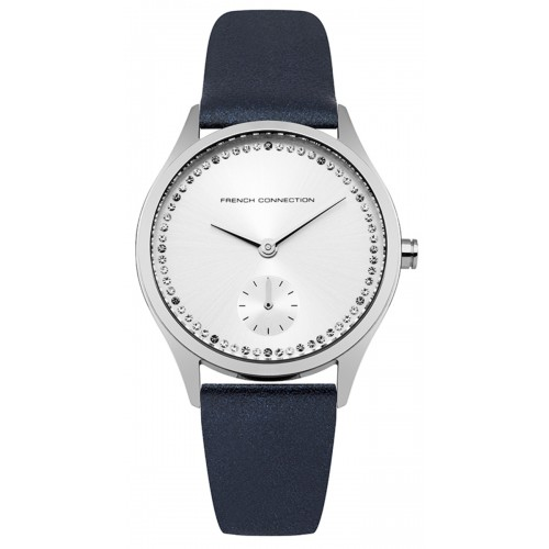 French Connection Ladies Blue Leather Watch FC1272U