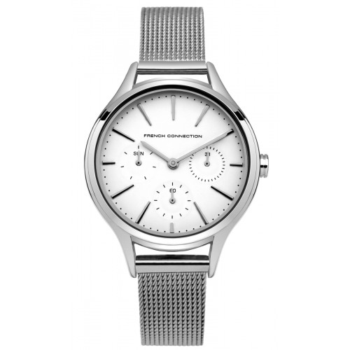 French Connection Daisy Grand Ladies Silver Mesh Watch FC1273SM