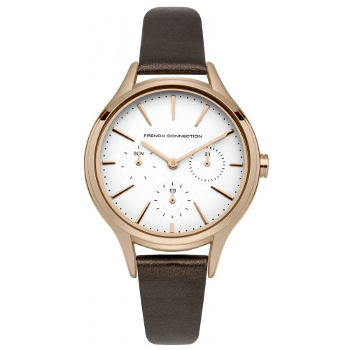 French Connection Daisy Grand Ladies Brown Leather Watch FC1273TRG