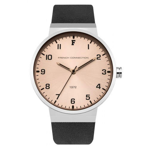 French Connection Mens Black Leather Watch FC1286B