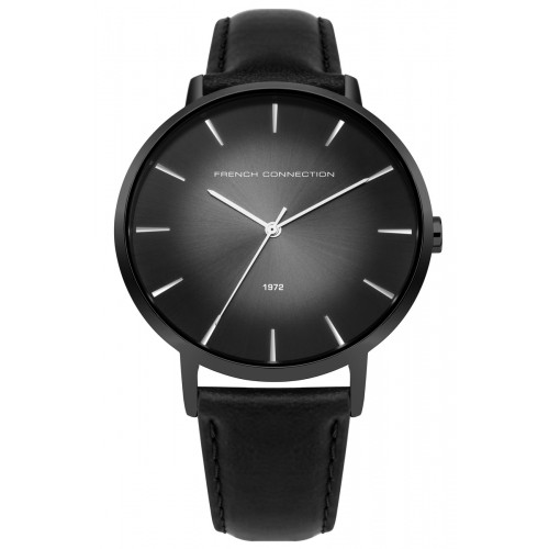 French Connection Mens Black Leather Watch FC1306BB