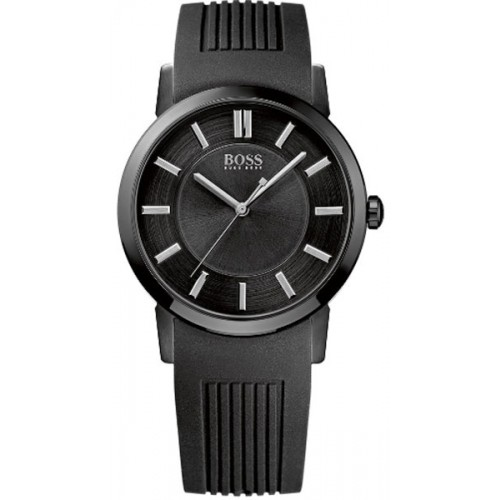 Hugo Boss Mens Black Rubber Strap Simple Watch 1512954