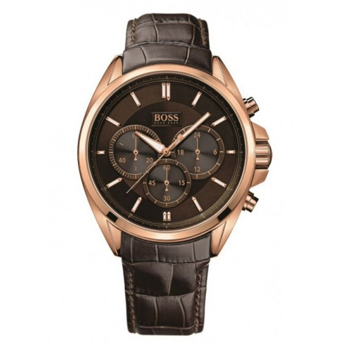 Hugo Boss Mens Chronograph Brown Leather Watch 1513036