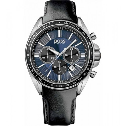 Hugo Boss Mens Black Leather, Blue Dial Watch 1513077