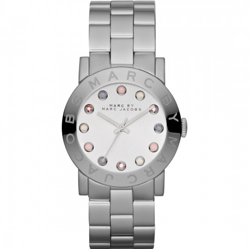 Marc Jacobs Ladies Amy Silver Watch MBM3214