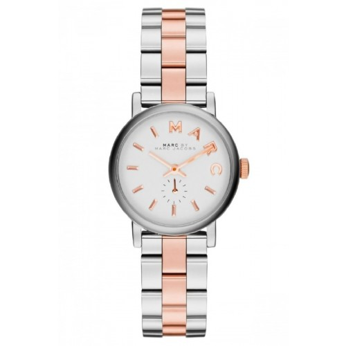Marc Jacobs Ladies Mini Baker Silver & Rose Watch MBM3331