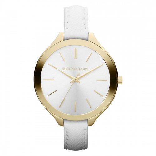Michael Kors Ladies Slim Runway White & Gold Watch MK2273