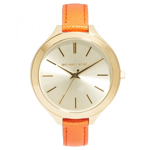 Michael Kors Ladies Slim Orange & Gold Runway Watch MK2275