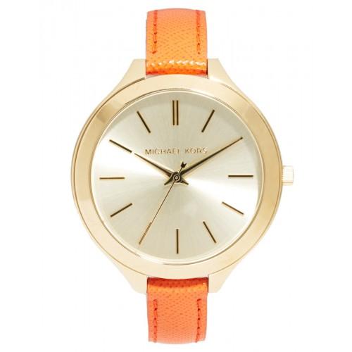 Michael Kors Ladies Slim Orange & Gold Runway Watch MK2275