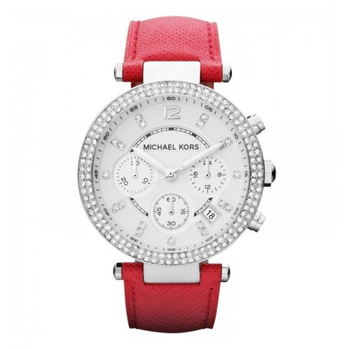 Michael Kors Ladies Red & Silver Leather Parker Watch MK2278