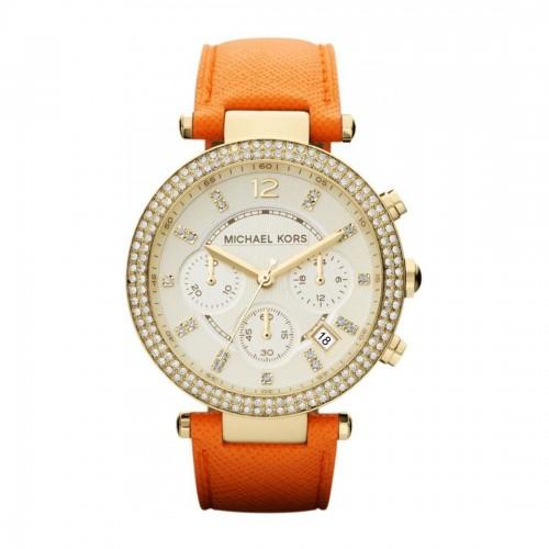 Michael Kors Ladies Gold & Orange Leather Parker Watch MK2279