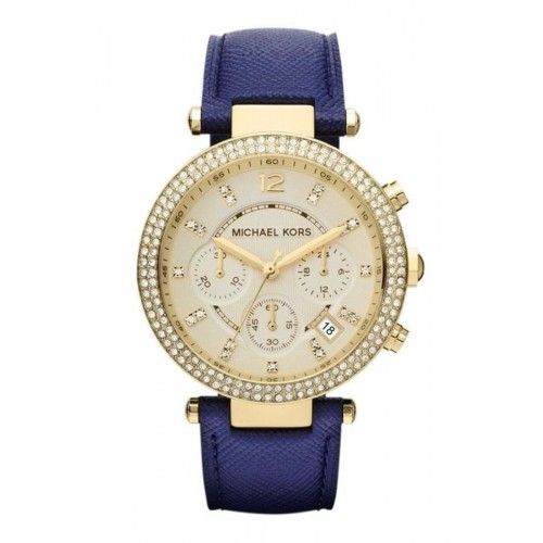 Michael Kors Ladies Gold & Blue Leather Parker Watch MK2280