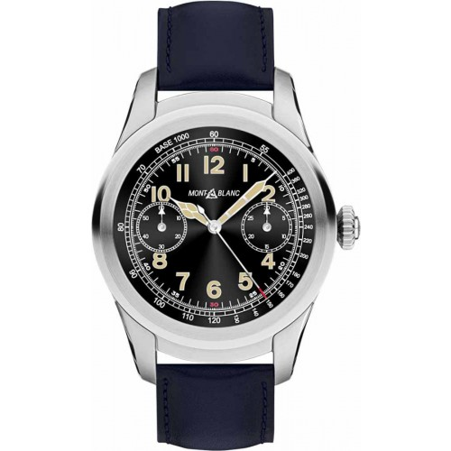 Montblanc Summit Smartwatch - Steel Case with Navy Blue Leather Strap 117905