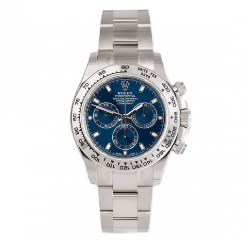 Rolex Cosmograph Daytona Blue Dial 18K White Gold Oyster Men's Watch 116509
