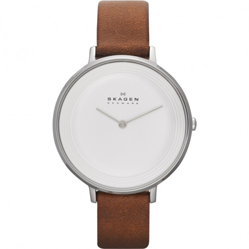 Skagen Ladies Ditte Brown Leather Watch SKW2214