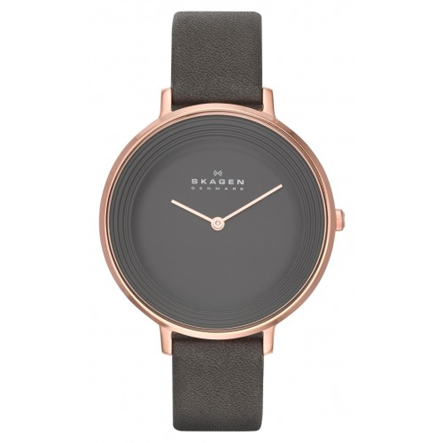 Skagen Ladies Ditte Grey Leather Watch SKW2216