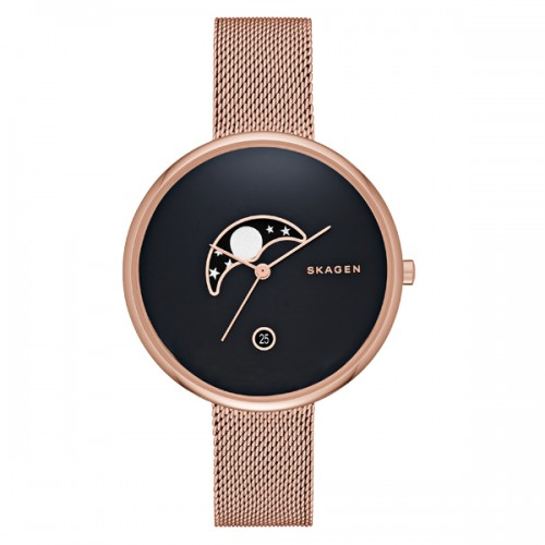 Skagen Ladies Gitte Moonphase Rose Gold Watch SKW2371