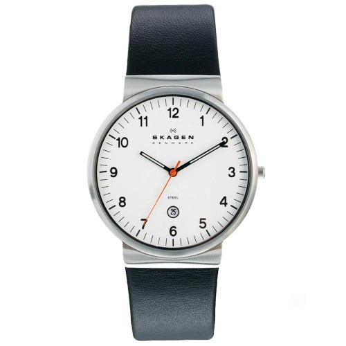 Skagen Mens Ancher Black Leather Watch SKW6024
