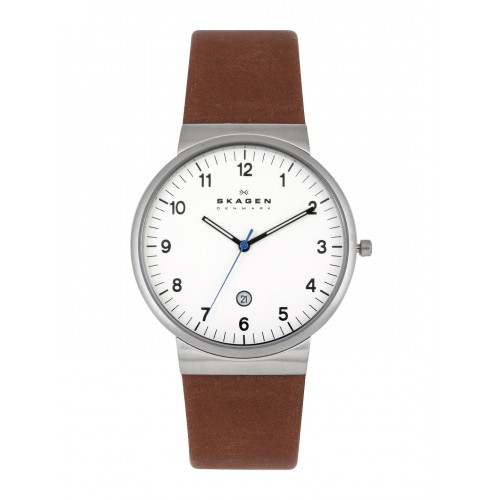Skagen Mens Ancher Brown Leather Watch SKW6082