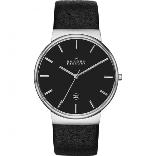 Skagen Mens Ancher Black Leather Watch SKW6104