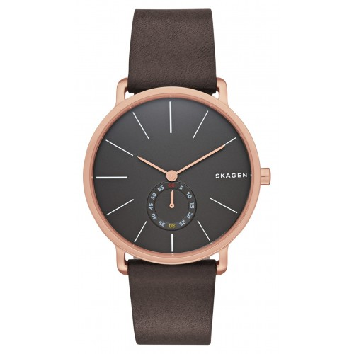 Skagen Mens Hagen Brown Leather Strap Watch SKW6213