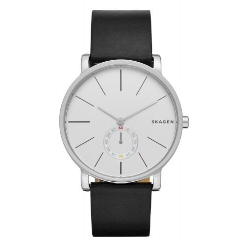 Skagen Mens Hagen Black Leather Watch SKW6274