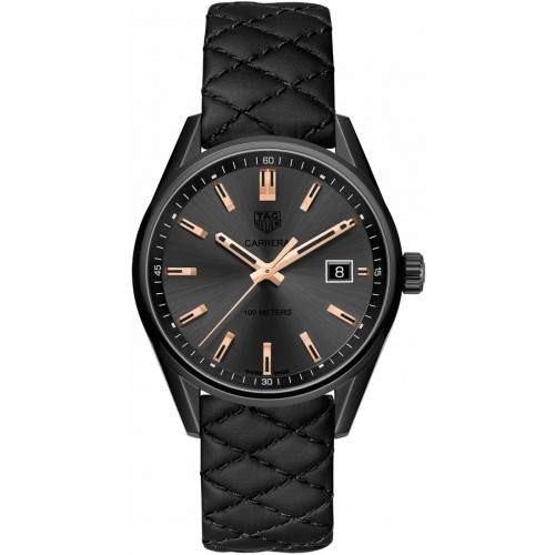 Tag Heuer Carrera Ladies Black Leather Watch WAR1113.FC6392