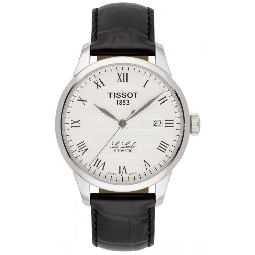 Tissot T-Classic Le Locle Silver Dial Black Leather Men's Watch T41.1.423.33