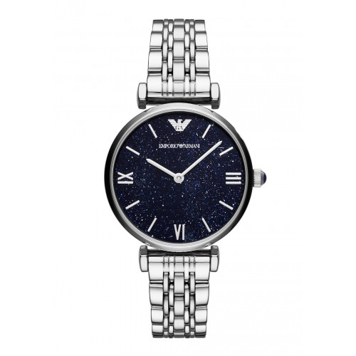 Emporio Armani Ladies Silver & Blue Dial Watch AR11091