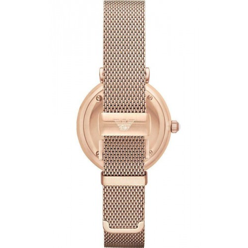 Emporio Armani Ladies Rose Gold Mesh Strap AR1956