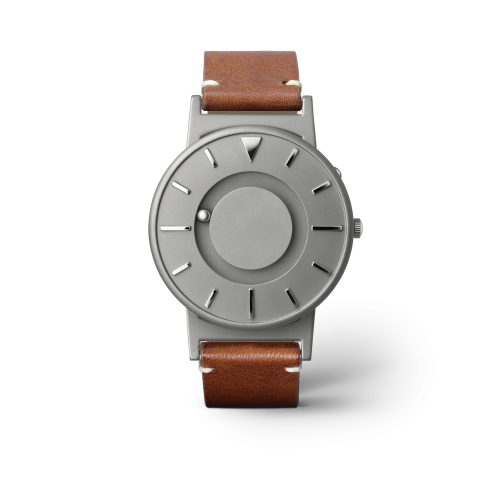 """Unisex Eone The Bradley Classic Cognac Leather Strap Titanium Watch BR-BRWN """