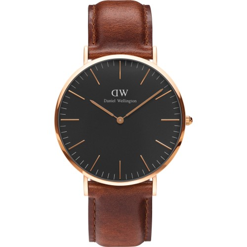 Unisex Daniel Wellington St Mawes Brown Leather Watch & Black Dial DW00100124