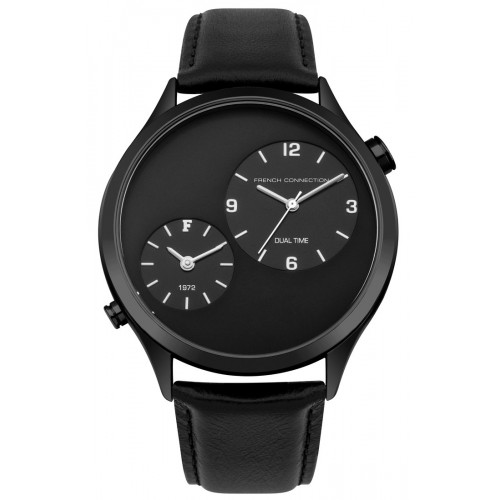 French Connection Mens Black Leather Watch FC1284BB