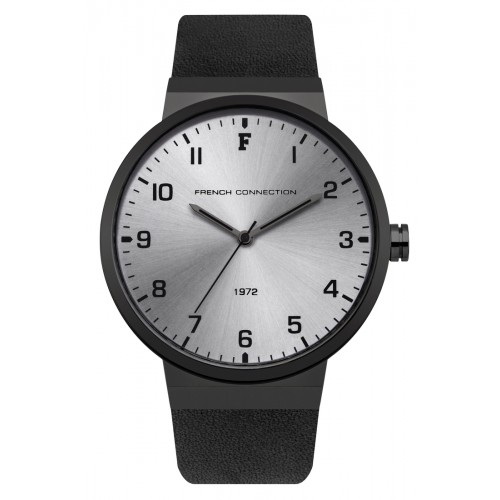 French Connection Mens Black Leather Watch FC1286BB