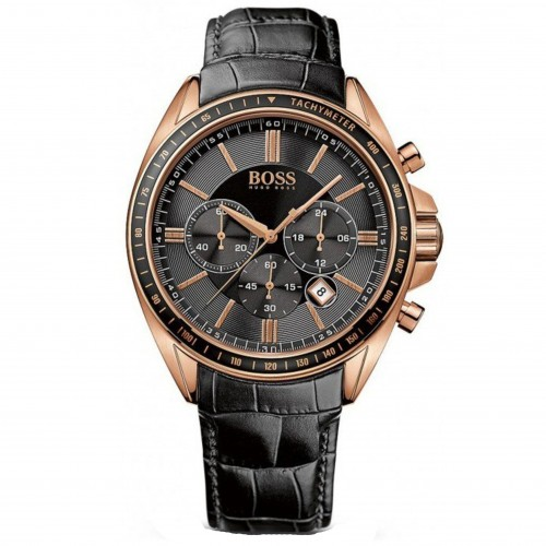 Hugo Boss Mens 1513092 Rose Gold & Black Leather Watch