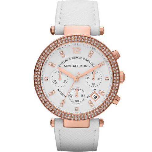 Michael Kors Ladies Rose Gold & White Leather Parker Watch MK2281