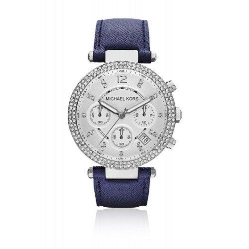 Michael Kors Ladies Blue & Silver Parker Leather Watch MK2293