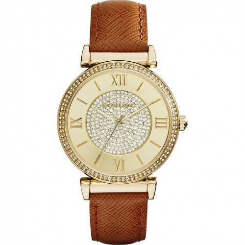 Michael Kors Ladies Brown & Gold Catlin Leather Watch MK2375