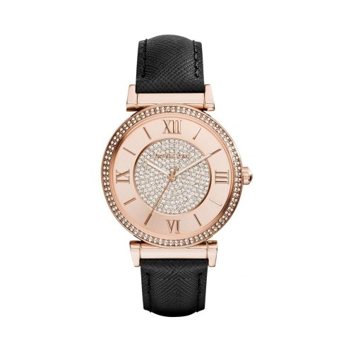 Michael Kors Ladies Black & Rose Gold Catlin Leather Watch MK2376