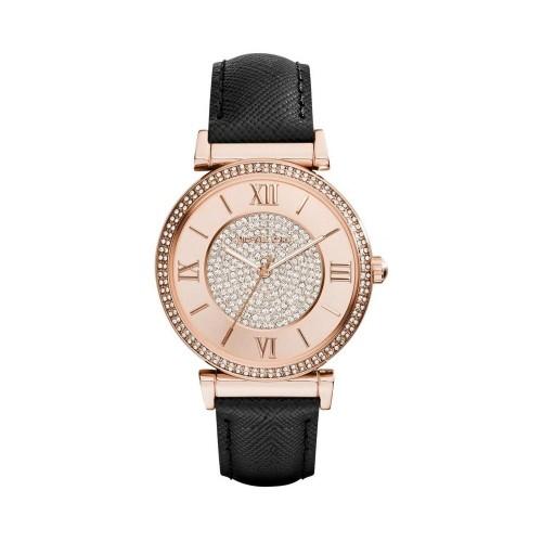 Michael Kors Ladies Black & Rose Gold Catlin Leather Watch MK2376