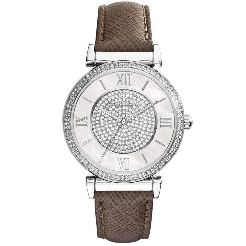 Michael Kors Ladies Brown & Silver Catlin Leather Watch MK2377