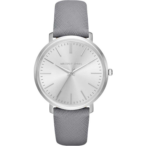 Michael Kors Ladies Grey & Silver Jaryn Leather Watch MK2470